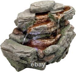 Fontaine D'eau Avec Led Léger Waterfall Creek Rock Garden Decor Tabletop Fount
