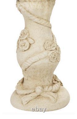 Fontaine D'eau De Birdbath Caractéristiques Classique Floral Rose White Stone Effet Jardin