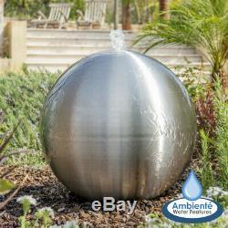 Fontaine D'eau De Jardin De Sphère D'acier Inoxydable Balayée Par Jardin Avec Led 28cm