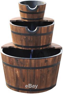 Fontaine D'eau En Bois Extérieure Cascading Feature Barrel Jardin Plate-forme 3 Tier
