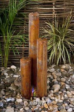 Fontaine D'eau En Cascade À 3 Tubes Jardin Urbain Contemporain En Acier Corten