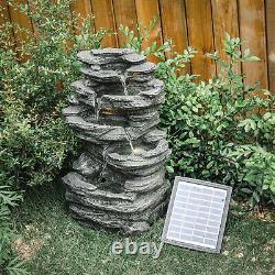 Fontaine D'eau Extérieure Caractéristique Led Lumières Jardin Statues De Pierre Décor Puissance Solaire