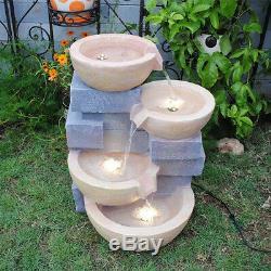 Fontaine D'eau Extérieure De Pots De Jardin De Jardin De Feng Shui Grande Avec La Lumière Menée
