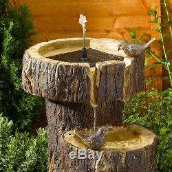 Fontaine D'eau Extérieure De Tronc D'arbre De Jardin De L'énergie Solaire