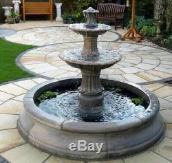 Fontaine D'eau Fatiguée Dans 5 Pieds 10 Ornement De Jardin En Pierre Entourant La Piscine