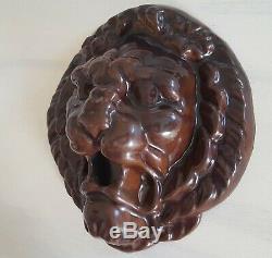 Fontaine D'eau Lion Antique Bec Masque Tête En Fonte Émaillée Jardin