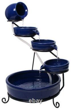 Fontaine De Caractéristique D'eau En Céramique Solaire Avec Batterie De Secours Et Leds Solaray Blue