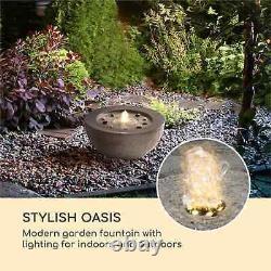 Fontaine De Jardin 7 W Led Éclairage Moderne Extérieur Pompe À Eau Polyrésine Anthracite