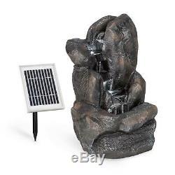 Fontaine De Jardin À Énergie Solaire D'extérieur Cascade Pompe À Eau Home Décor Led