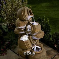 Fontaine De Jardin Autonome 72cm Avec Fonction Led Pour Eau En Cascade De Pots Serenity