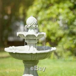 Fontaine De Jardin Eau En Plein Air Actionné Solaire Pierre Pompe Look Pompe
