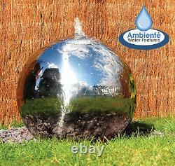 Fontaine De Jardin En Acier Inoxydable Poli Sphere Avec Led 28cm