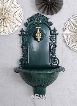 Fontaine De Jardin Vert Fontaine Murale Historique Avec Laiton Robinet Distributeur D'eau