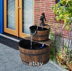 Fontaine En Bois De Pompe À Eau, 2 Bois De Niveau-sapin/acier, Effet De Chute D'eau, Jardin