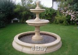 Fontaine En Pierre Fatiguée De Grande Pierre 2 De Jardin Dans L'ornement De Jardin De Base De Piscine De 7 Pieds 3