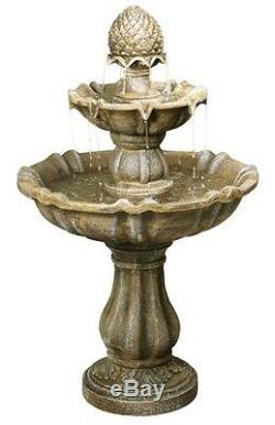 Fontaine Extérieure À 2 Niveaux, Caractéristique D'un Jardin Extérieur En Pierre Effet Cascade Antique