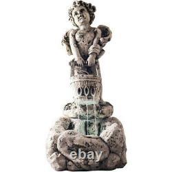 Fontaine Extérieure D'eau Avec Des Lumières De Led, Fontaine Allumée D'ange De Chérubin Avec L'antiq
