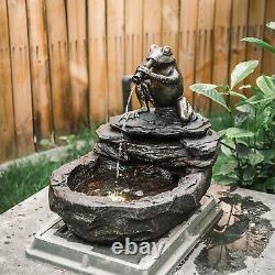 Fontaine Extérieure Jardin Caractéristique De L'eau Statue De Pierre Avec Led Lumière Solaire / Cordé