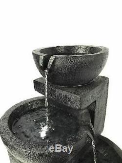 Fontaine Solaire De Fonction D'eau De Jardin De Patio De Charbon De Bois Actionnée Avec Des Lumières De Led