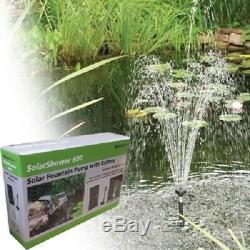 Fontaine Solaire Pompe 158gph Withbattery Secours Et Lumières Led, Jardin D'eau Des Étangs