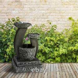 Fontaines De Jardin Eau Extérieur Solar Powered Cascade Stone Look Lumière Led