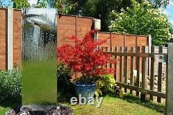 Free-standing Wall Cascade Water Feature Steel Fountain Silver Garden Partition