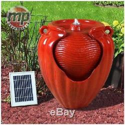 Gardenwiz Rouge Jardin Extérieur Solaire En Céramique Pot En Terre Cuite Fontaine D'eau Caractéristiques