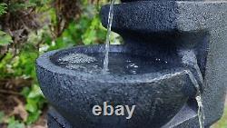 Gardenwize Garden Outdoor Solar Powered Charcoal Bowl Water Fountain Feature