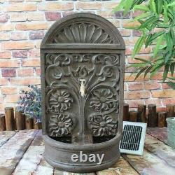 Gardenwize Garden Outdoor Solar Powered Rust Ornate Wall Water Fountain Feature