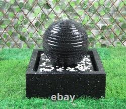 Gardenwize Jardin Extérieur Solar Powered Black Ball/sphere Fontaine D'eau