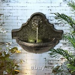 Gentle Lion Head Wall Fountain Water Feature Garden Outdoors Feature Illuminé