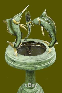 Grand Bronze Fontaine D'eau Statue Avec Marlins Jardin Sculpture Décoration