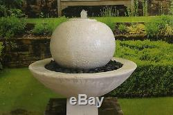 Grand Jardin Blanc Calcaire Boule Fontaine Ornement Eau Solaire Pompe Caractéristiques