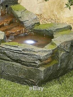 Grand Jardin Fontaine D'eau Caractéristiques Pompe Lumières Led Cascade Rocher Statue Décor