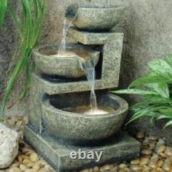 Grand Jardin Fontaine D'eau Feature Pompe Lumières Led Cascade Bowl Statue Décor 49