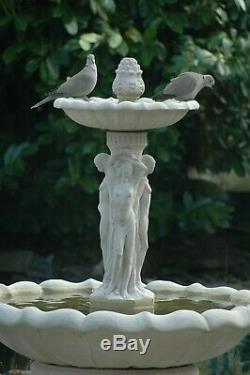 Grand Jardin Pierre Fontaine D'eau Statue Caractéristique 3 Grâce Ornement Pompe Solaire