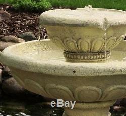 Grande Fontaine D'eau Ronde Extérieure De Bain D'oiseau De Jardin Ronde Actionnée Solaire F2