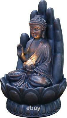 Grande Fontaine De Jardin Caractéristique De L'eau Pompe Led Lumières Cascade Bouddha Sculpt Décor