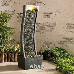 Grande Fontaine De Jardin Caractéristique De Pompe À Eau Lumières Led Cascade Bowl Statue Décor 98