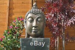 Grande Pierre Calmante Tête De Bouddha Fontaine D'eau Statue Caractéristique Ornement Jardin