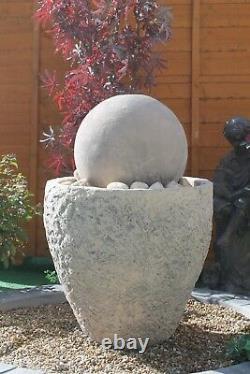 Granery Tub Ball Stone Water Fountain Feature Garden Ornament Pompe Solaire