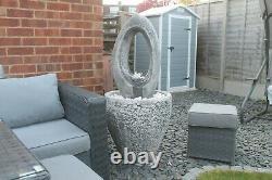 Granery Tub Eye Stone Fontaine D'eau Caractéristique Jardin Ornement Pompe Solaire