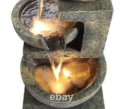 Granite Three Bowls Fountain Outdoor Garden Cascade Water Feature With Lights