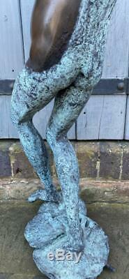 Grenouille Jouant Bronze Fontaine D'eau Jardin Caractéristiques Sculpture Saxophone