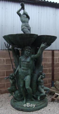 Immense Bronze Fontaine De Neptune / Eau Caractéristiques 334cm Haut Verdigris Terminer