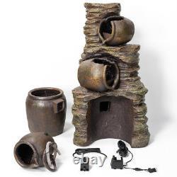 Jar Water Feature Fountain Cascade Classical Earthenware Pottery Effect Garden
