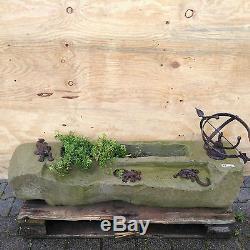 Jardin Chemin Élément Eau Étang Naturel Pierre Trough Fontaine Bird Bath Sundial