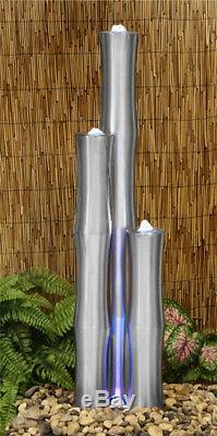 Jardin De Bambou En Acier Argenté Avec Fontaine D'eau En Cascade