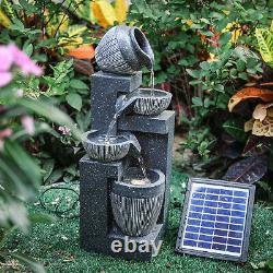 Jardin Solar Water Feature Fontaine Led Extérieur Intérieur Résine Ornament Pompe Lumière