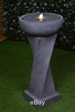 Kensington Eau De Jardin Avec Fontaine En Pierre À Led, Lumière Contenue